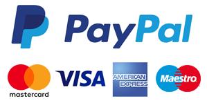 Pagamenti sicuri con: Paypal, Mastercard, Visa, American Express, Maestro